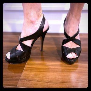 Prada open toe leather heels